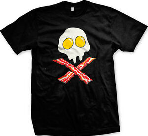 Bacon-And-Eggs-Skull-And-Crossbones-Breakfast-Food-Meat-Funny-Humor-Mens-T-shirt