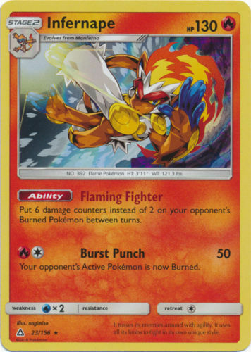 Pokemon Infernape 23//156 Sun /& Moon Ultra Prism HOLO RARE PERFECT MINT
