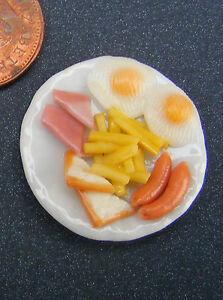 1:12 Scale Hand Made Fish /& Chips On A 3.5cm Ceramic Plate Tumdee Dolls House