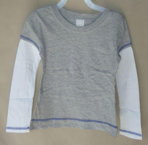 NEW BASIC Gray Long Sleeve Tee Shirt w//White Set In Sleeves UNISEX SIZE 7 NWOT