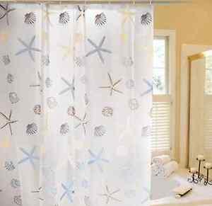 Image Is Loading Starfish Seashell Seascape Beach Shower Curtain Bathroom Diy