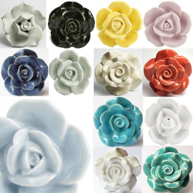 MIX & MATCH ROSE FLOWERS Retro Vintage Shabby Chic Ceramic Door Knobs Drawer