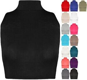 Womens-Turtle-Neck-Crop-Ladies-Short-Plain-Sleeveless-Polo-Look-Vest-Top-8-14