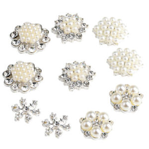 10pc Metal Crystal Rhinestone Buttons Flower Flatback Wedding Embellishments