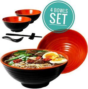 4 Noodle Bowl (16 piece) Melamine Large Ramen Bowls Set. 37 Oz. With Accesories