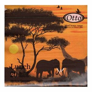savanna sunset 4 Single paper decoupage napkins.Africa 657 elephant