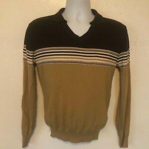 Vintage-70-039-s-Kennington-Surf-Skate-Hipster-V-Neck-Kragen-Pullover-Shirt-Medium