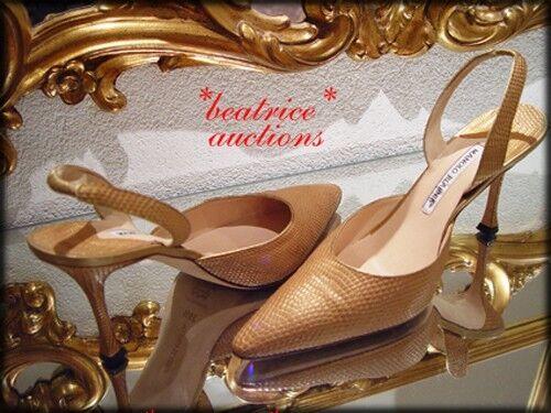 AUTHENTIC Manolo Blahnik gold LIZARD Slingback Mules Pumps shoes 39.5 US 9 9.5