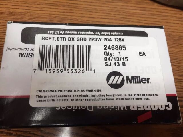 Miller Receptacle 246865 GFCI 20 Amp RCPT Str DX Grd 2p3w 20a 125v ...