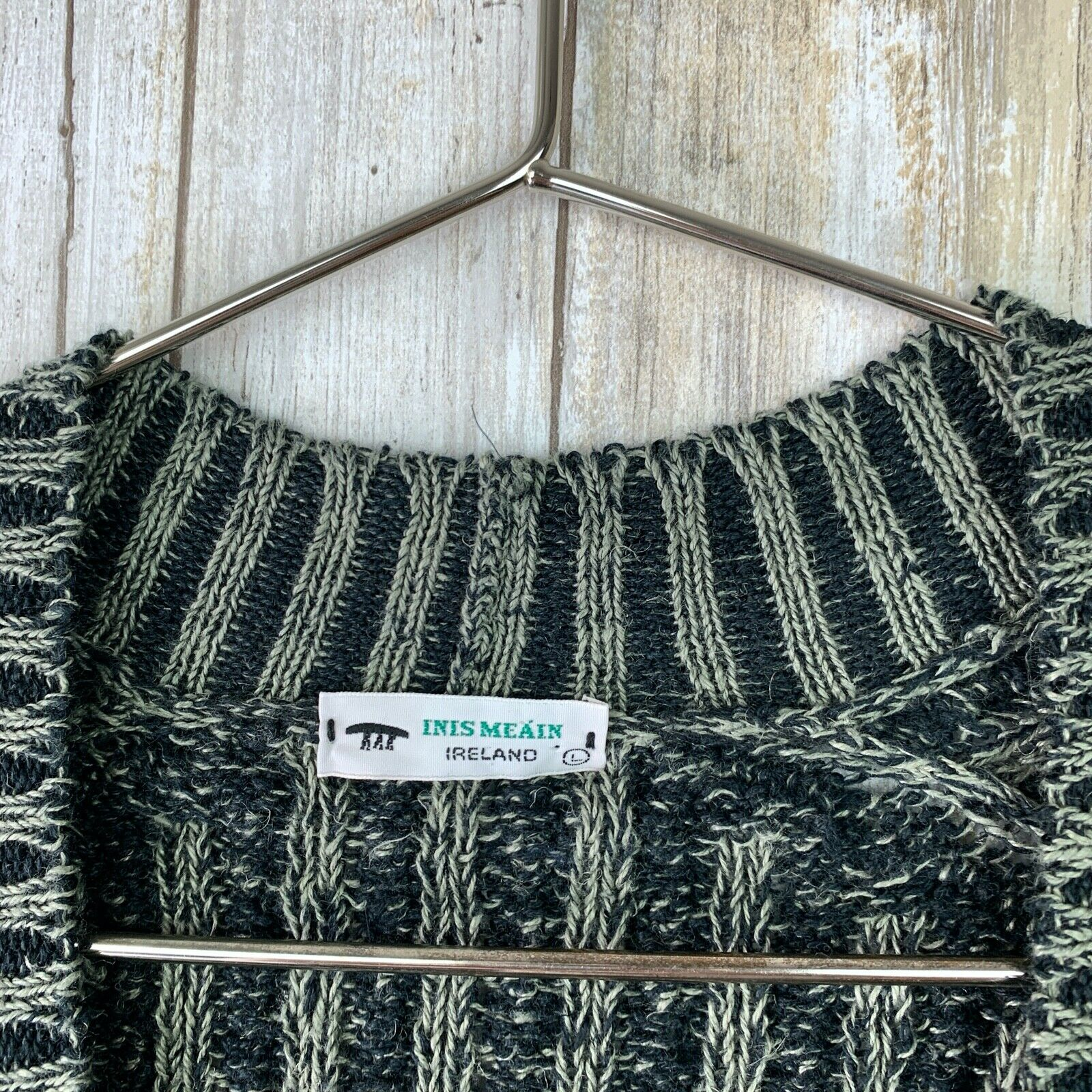 Inis Meain Linen Loose Knit Open Sweater Green Gr… - image 2