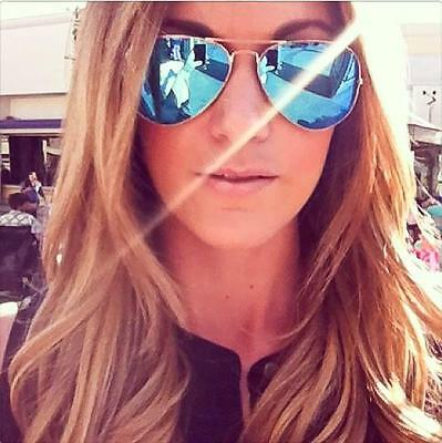 Hot Blue Mirror Gold or Silver Aviator Trendy Famous Blogger Sunglasses 1106