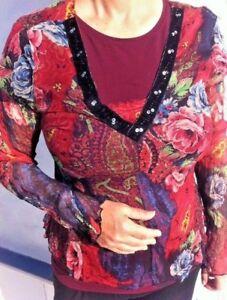 Flower Zip Evening Velvet amp; Boho Rrp Top £190 10 Small Size Uk Side vqSvrtxFw