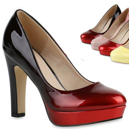 895162 Damen Pumps Plateau High Heels Lack Metallic Party Schuhe Trendy