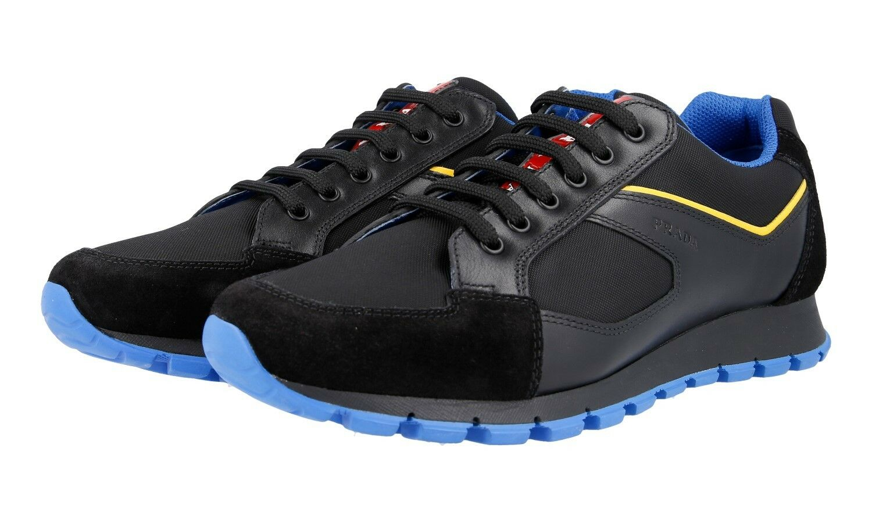 LUXUS PRADA SNEAKER SCHUHE 4E2932 black + blue NEU NEW 11 45 45,5