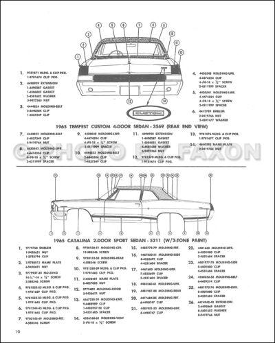 1965 Pontiac Chrome Molding Part Book GTO Bonneville Grand Prix Catalina Tempest