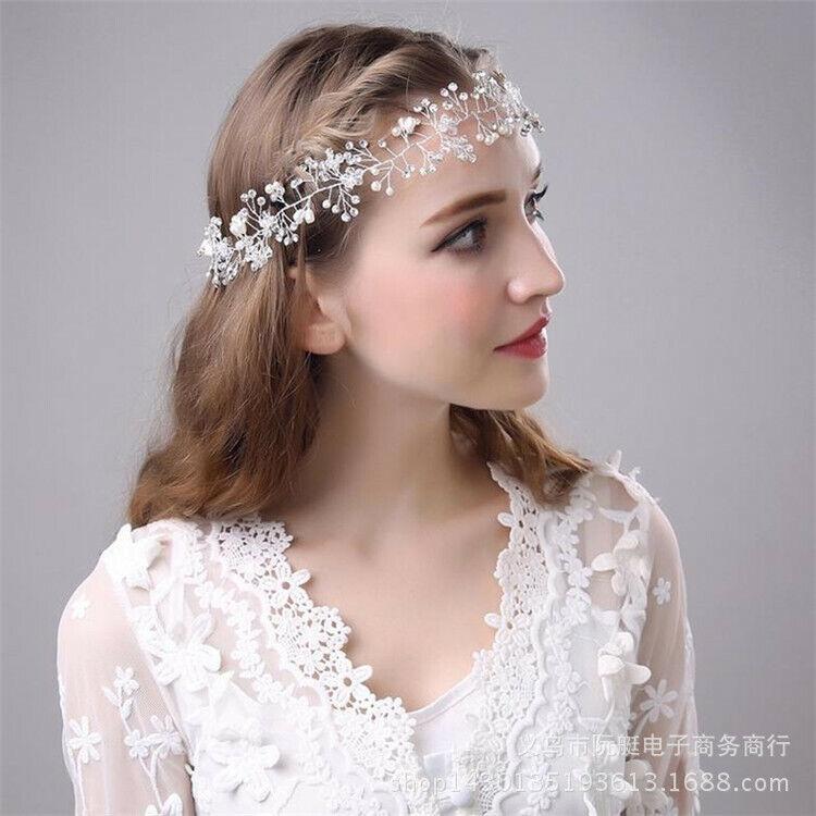 Bride Pearl Crystal Headband Hairpin Wedding Dress Bridesmaid Accessories fashio