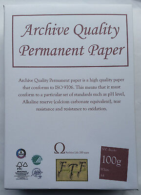 200 year guarantee 25 sheet pack A3 100gsm Acid Free Archival Paper