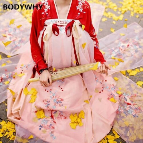 New Traditional Hanfu Costumes Embroidery Oriental Long Sleeve Chinese Style