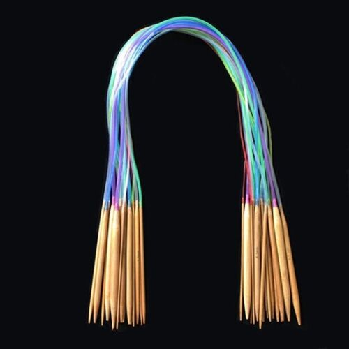 18-teilige mehrfarbige Rohr-Stricknadeln-aus karbonisiertem Bambusholz 40-120CM