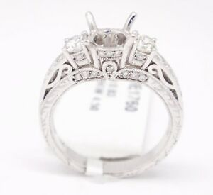 18k White Gold VS2,G 0.83tcw Diamond Three Stone Engagement Semi Mount Ring 6.5