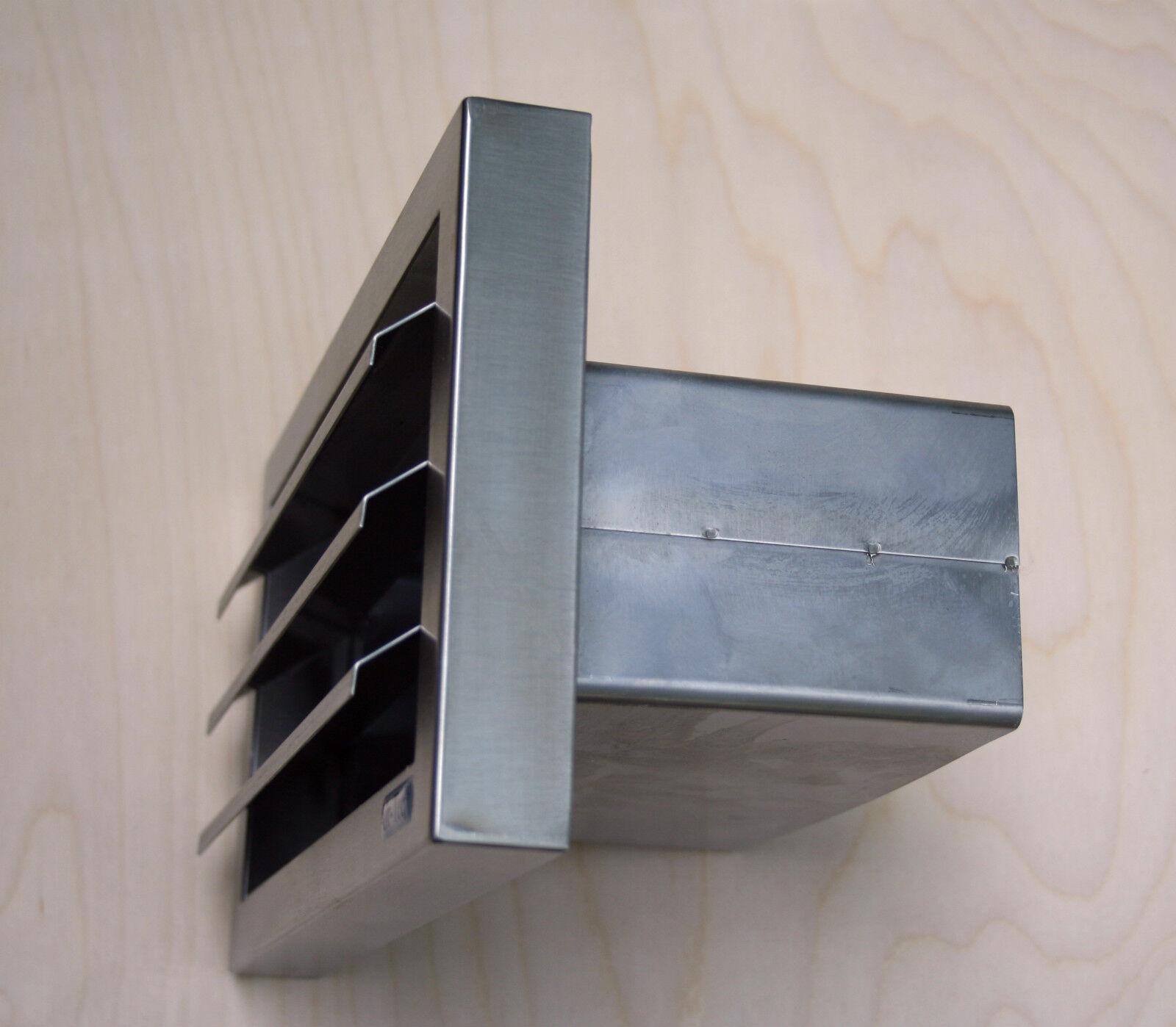 150er Abluft Set superflach Edelstahl-Mauerkasten 2m Flachkanal 23x7cm Umlenkst.