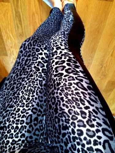 BLACK Animal Print LEOPARD Leggings Leather side inset cotton S M L 2-12