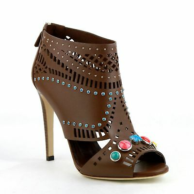 New Gucci Brown Opened Toed Heel Boots with Gem Detail 371057 2548
