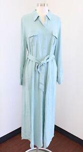 Soft Surroundings Blue / Green Tie Waist Belted Maxi Shirt Dress Size M