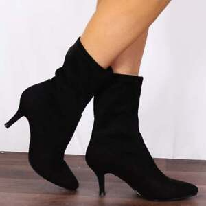 SHOE-CLOSET-BLACK-STRETCH-SOCK-POINTED-PULLUP-KITTEN-HEEL-ANKLE-BOOTS-SHOES-SIZE