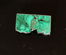 Vintage Sterling Hallmarked Modernist Malachite Slab Pin Brooch  ~ Beautiful ~