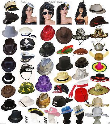 New Adult Unisex Hats Bowler,Trilby Gangster,Santa,Chef,Pirate,Cowboy,Sailor Hat