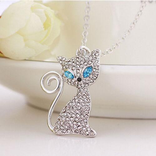 Women Pendant Gift Cat Crystal Necklace Full Rhinestone Fashion Jewelry Cute
