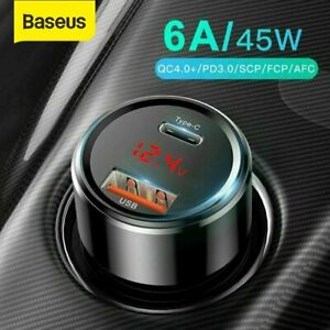 Baseus-45W-USB-Type-C-Fast-Charging-Car-Charger-QC4-0-Adapter-for-iPhone-Samsung