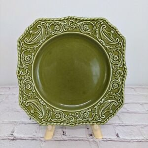 Canonsburg Pottery Company Regency Ironstone China Square Plate Green Vintage