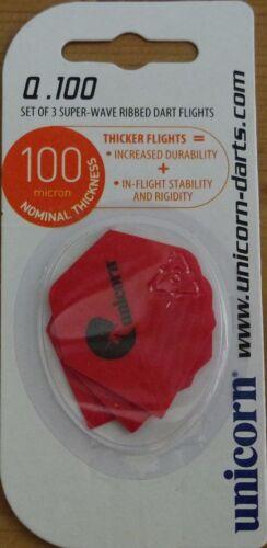 "10X3 Unicorn Maestro Q.100 /""Red/"" ribbed,standard shaped dart flights. 10 Sets"