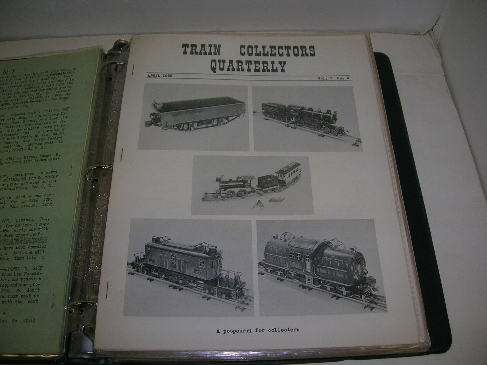 TRAIN COLLECTORS QUARTERLY NEWS LETTER APRIL  1956 VOL. 2 NO. 2 - MAKE OFFERS