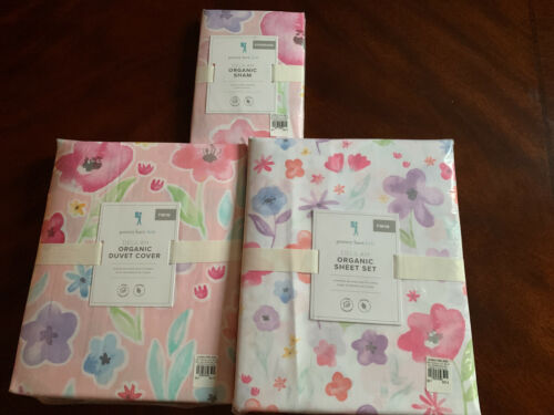 5pc POTTERY BARN KIDS Delilah Floral TWIN Duvet STANDARD Sham Sheet Set NEW