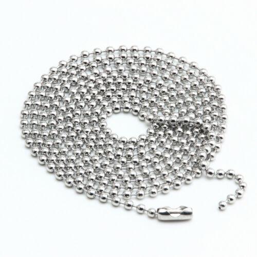 Bola Cadena Joyería Collar De Acero Inoxidable 1.5mm Artesanales Con Cuentas De 3-24 pulgadas
