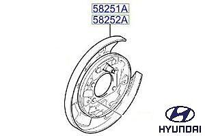 Rear Left Brake Back Plate 582512E000 Genuine Hyundai Tucson 2004