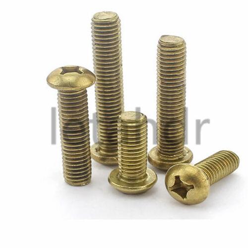 100pcs M2 Brass Round Pan Head Cross Recessed Phillips Copper Screw Bolt