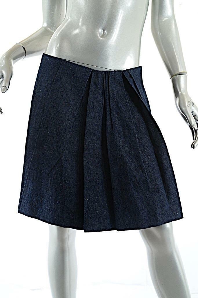 BRUNELLO CUCINELLI Dark Denim Cotton Linen Blend A Line Skirt  NWT US 6   870