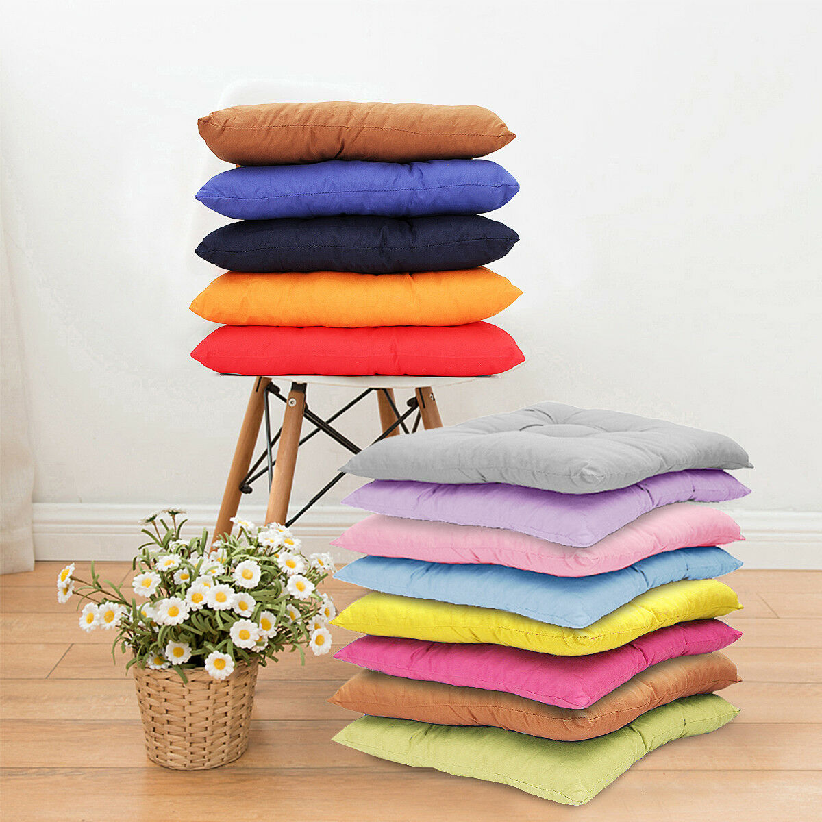 40X40CM COLORFUL SQUARE SOFT THICKEN SEAT PAD CUSHION TIE ON CHAIR HOME DECOR Bo