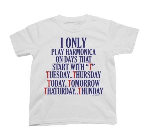 Kids I Only Play Harmonica sur jours Harpe Orgue à bouche Unisexe Nouveauté Musique T-Shirt
