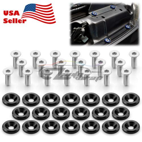 20pcs Black Billet Aluminum Fender Bumper Washer Bolt Engine Bay Screw Kit JDM