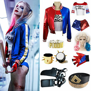 Halloween Costume Harley Quinn T-shirt Jacket Coat &Wigs &Glove ...