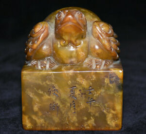 """3,8 """"Chine Tianhuang Shoushan sculpture pierre tortue tortue bête timbre sceau"""