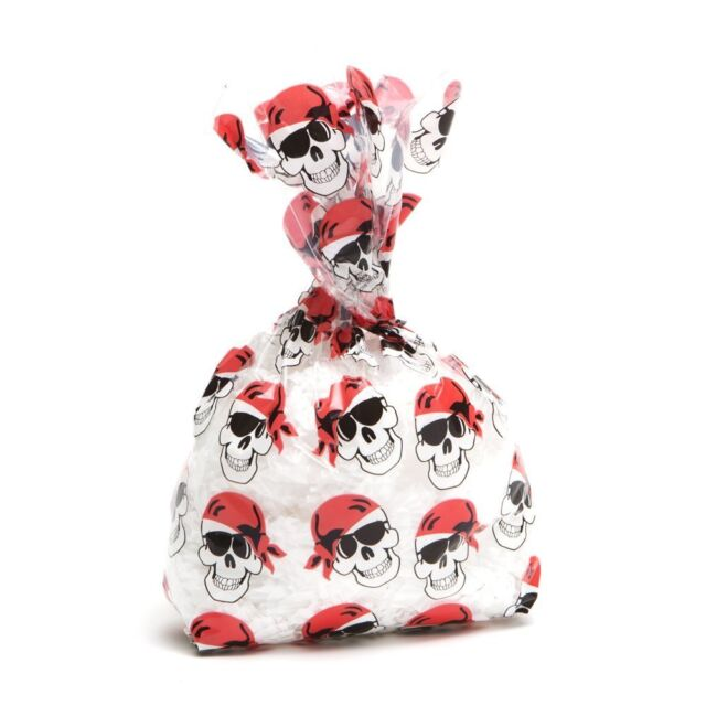 24 Birthday Party SKULL Favor GOODY LOOT Treat CELLO BAGS HALLOWEEN PIRATE