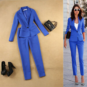 New Ladies Royal Blue Trouser Suit Business Clothes For Women