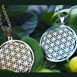 Mode-Frau-Halskette-Blume-Des-Lebens-Anhaenger-Heilige-Geometrie-Silberkette