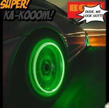 Set 4 NEON LED VALVE STEM CAR RIMS TIRE LIGHTS 4 BIKES CARS.SCHRADER PRESTA CAPS